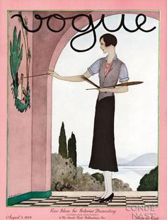 Vogue cover (August 3, 1929). Cover art by André E. Marty (French, 1882-1974)