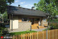 Tani w budowie dom parterowy z dwuspadowym dachem. Village House Design, Village Houses, Weekend House, Facade House, House Plans, Farmhouse, Exterior, Studio, Country