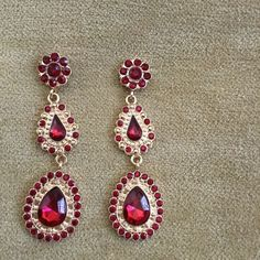 NWOT earrings Red and gold earrings. Will dress up any outfit. Jewelry Earrings