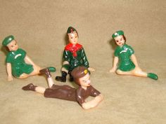 VINTAGE 1950-60'S WILTON GIRL SCOUT,BROWNIE & BOY SCOUT CAKE TOPPERS!