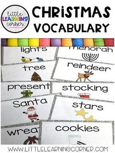 Christmas vocabulary cards for kids #vocabulary #christmas Christmas Books For Kids, Christmas Writing, Easy Diy Christmas Gifts, Christmas Activities For Kids, Holiday Crafts For Kids, Teacher Christmas Gifts, Christmas Fun, Kindergarten Themes, Teacher Cards