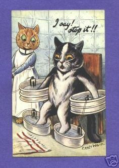 """""""I say, I think I've head enough!""""   postcard from Taking The Waters health spa series   by Louis Wain"""