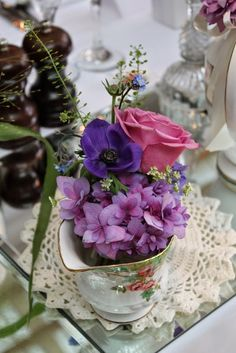 Milk Jug with Anemones, Forget Me Nots, Dille, Scabious and Hydrangeas Afternoon Tea Wedding, Flower Designs, Swan, Everything, Mary, Anemones, Milk Jug, Table Decorations