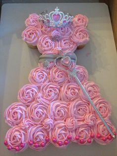 The Greene Pig Sweets Princess Birthday Cupcakes, Princess Cupcake Dress, First Birthday Cupcakes, Disney Princess Birthday Party, Barbie Birthday Party, Birthday Cake Girls, Princess Party, 5th Birthday, Birthday Ideas