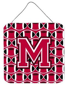 Letter M Football Crimson and White Wall or Door Hanging Prints CJ1079-MDS66