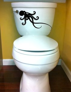 holy octopus on the toilet octopus decal size good for toilet home decor vinyl by