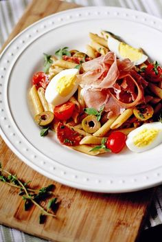 Great dinner for hot summer nights. Spanish Charcuterie Pasta Salad
