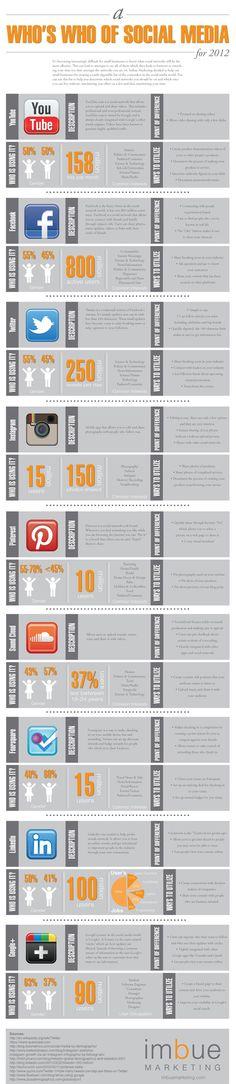 A who's who of social media for 2012 / En busca de la Red social más adecuada para nuestro negocio.