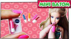 Como fazer: Mini batom para bonecas Barbie, Monster High e outras! (Nive...