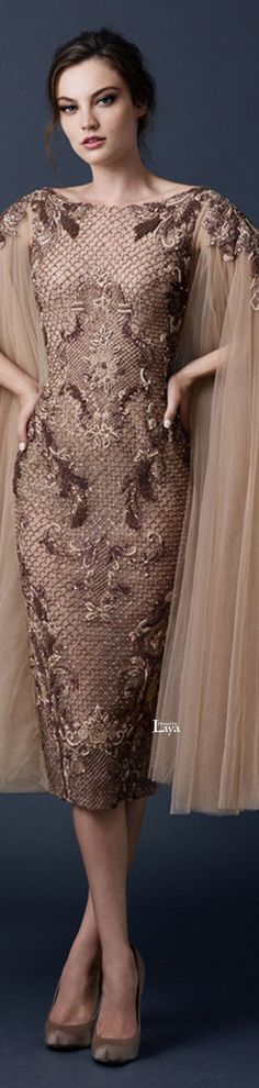Paolo Sebastian ~ Couture Embroidered Multi Brown Dress 2015