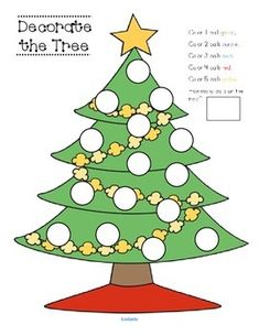 CHRISTMAS Tree - Count and Color the Balls - FREE