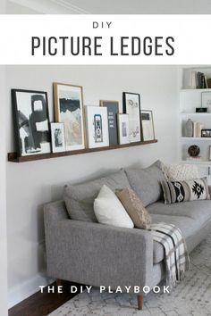 room diy art How to build DIY picture ledges so you can display art in your family room. These easy ledges are great because you can swap out the art in your living room on a whim! Plus, this is a great way to showcase art above your couch! Diy Living Room Decor, Living Room Art, Living Room Interior, Living Room Furniture, Living Room Designs, Living Room Wall Decor Ideas Above Couch, How To Decorate Living Room Walls, Rustic Furniture, Luxury Furniture