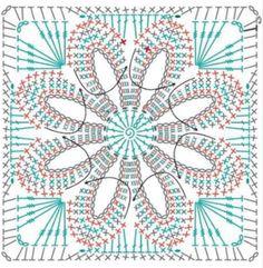Motif Mandala Crochet, Crochet Blocks, Granny Square Crochet Pattern, Crochet Chart, Crochet Squares, Thread Crochet, Crochet Patterns Amigurumi, Crochet Granny, Granny Squares