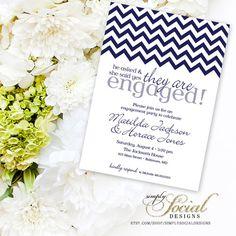 Chevron Engagement Party Invitation