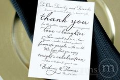 "Custom ""To Our Family and Friends… Thank You"" Seating Sign Diagonal Style"