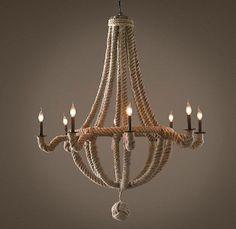 Luminária de corda sisal.