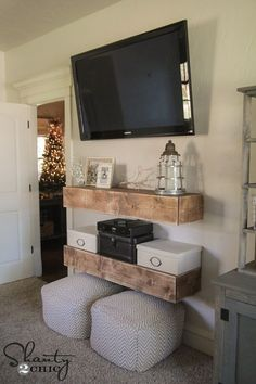 DIY Media Shelves - Free Plans & Video Tutorial - Shanty 2 Chic - Marion Home Shanty 2 Chic, My New Room, My Room, Plywood Furniture, Diy Furniture, Building Furniture, Bedroom Furniture, Media Shelf, Ideas Hogar