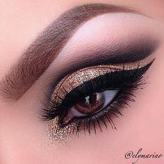 Gold smokey eye with cat eye liner #eyes #eye #makeup #bold #dark #smokey #dramatic: