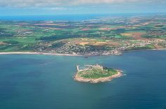 South to North coast from the air (St Michaels Mount on the foreground Island)
