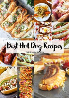 Best Hot Dog Recipes to kick off your grilling season with a BANG! From Philly Cheesesteak Hot Dog to Korean Slaw Dogs & more - these will surely change the way you think about franks. Dinner Recipes Easy Quick, Easy Meat Recipes, Grilling Recipes, Quick Meals, Chicken Recipes, Vegan Recipes, Easy Dinners, Barbecue Recipes, Sausage Recipes
