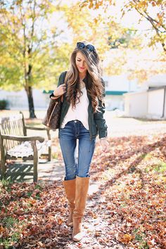 e9d57cd33 bomber jacket    Hudson jeans    Sam Edelman over-the-knee boots    white  cami Louis Vuitton Neverfull (borrowed from my mo.