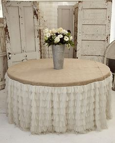 Beautiful ruffled tablecloth, perfect for a wedding celebration!