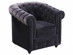 Chesterfield Sessel Samt  Sophie - Anthrazit 170 Euro