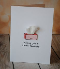 Items similar to Get well card-wishing you a speedy recovery, cute card with tissues on Etsy Get Well Gifts, Get Well Cards, Bday Cards, Funny Birthday Cards, Funny Cards, Cute Cards, Tarjetas Diy, Birthday Card Drawing, Creative Cards