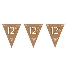 Dubbelzijdige kunststof bronzen vlaggenlijn met het cijfer 12,5. Afmeting: lengte 10 meter - Vlaggenlijn - 12,5 jaar, 10mtr.