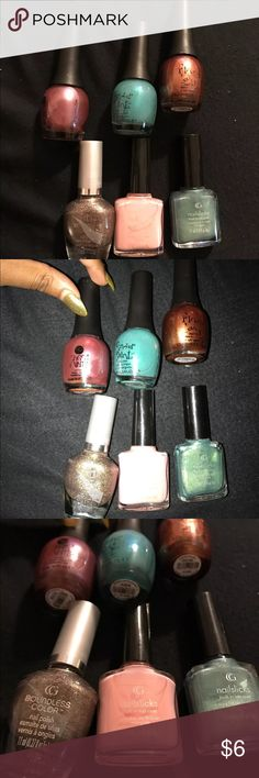 """Stocking Stuffers Nail Polish Top row """"Finger Paints"""" from left to right: 806123 tapestry in taupe, 806197 art dealer teal-er, 806196 figure of art  Bottom row from to left to right: Boundless color 603 bronze beauty, nailslicks 251 tickled pink, nailslicks 561 jolted jade  get them before they are gone Makeup"""