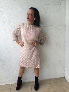 Vintage Blush nacré pailleté blanc rose et perle Sequin perlée
