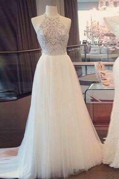 White tulle sequins prom dress, formal dress, cute halter dress for teens