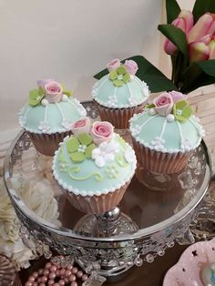 Loving the cupcakes at this pretty Tea Party! See more party ideas  and share yours at CatchMyParty.com #catchmyparty #partyideas #cupcakes #teaparty #shabbychicparty #girlbirthdayparty
