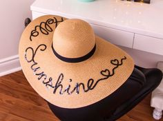 Summer hat, HAPPINESS IS... oh so happy, Fiesta no Siesta, Floppy hat -Must have this summer-unique- Personalized- Gift- Bridesmaid- Beach by PANMILLI on Etsy