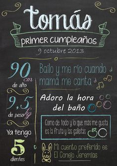 Natalicios y Recuerdos para Cumpleaños - To Remember the Birth and Birthday Baby Birthday, Birthday Parties, Ideas Para Fiestas, Eye Makeup Remover, Cake Smash, Holidays And Events, Birthday Invitations, First Birthdays, Chalkboard