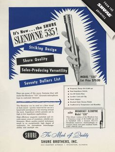 Vintage Shure Slendyne 535 Microphone Ad from 1954 #throwbackthursday