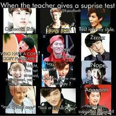 kekeke Can EXO be my classmates?? keke and the surprise quizzes will be fun~!! keke anyone wanna join me??