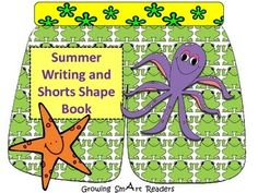 FREEBIE! Summer/ Vacation Writing Book {Free} Fun ocean animals and beach theme graphics on shorts! Some prompts...and some blank. Several pages--do separately or arrange into a shape book!