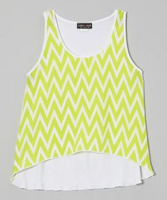 Another great find on #zulily! Neon Green Zigzag Hi-Low Tank #zulilyfinds