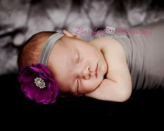 Baby Headband..Purple and Gray Flower by whisperbugboutique
