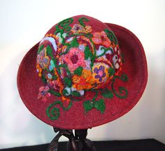felted hat super embroidery  #Felt # Hat