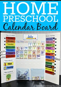 Make your own DIY calendar board for home preschool! It's super simple and your preschooler will love it!