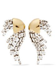 Saint Laurent - Gold and silver-plated crystal clip earrings