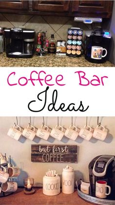 Farmhouse Coffee Station Ideas - Farm Style Coffee Bar Ideas & Pictures For Your Home - Kim @ Kims Five Things - Farmhouse Coffee Station Ideas - Farm Style Coffee Bar Ideas & Pictures For Your Home Kitchen coffee bar ideas - home coffee station DIY - Coffee Station Kitchen, Coffee Bars In Kitchen, Coffee Bar Home, Home Coffee Stations, Coffe Bar, Coffee Cozy, Coffee Mugs, Diy Bar, Diy Home Bar