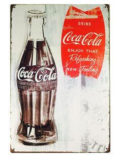 LARGE Coca Cola Sign Coke Bottle Vintage Retro Metal Tin Sign Plaque 1918
