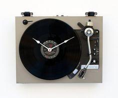 Recycled Technics Turntable Clock.