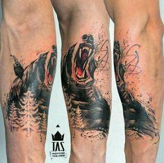 By Rodrigo Tas   Brazil   #Bear #Forest #Tattoo #NewSchool