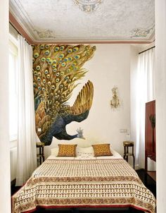 Wall Painting Designs For Bedroom Gorgeous The Peacock In The Bedroom Was Paintedmracar Chinoiserie Decorating Design