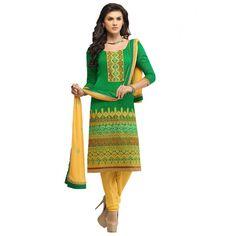 Green Banaras #Indian Churidar Suits With Dupatta #Salwarkameez