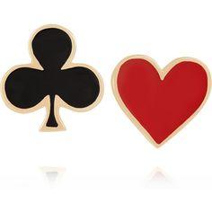 Alison Lou Heart & Club 14-karat gold enamel earrings (2 705 PLN) ❤ liked on Polyvore featuring jewelry, earrings, accessories, red, gold, post earrings, post back earring, red heart jewelry, red enamel earrings and heart earrings